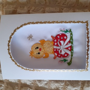 Kézzel himzett képeslap, csibe, Fonal, cérna, Papír, Mindenmás, Hímzés, Kézzel himzett, egyedi képeslapjaimat ajánlom névnapra, születésnapra, karácsonyra, most  húsvétra...., Alkotók boltja