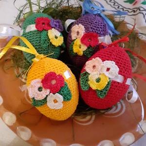 Húsvéti horgolt tojás, Otthon & Lakás, Dekoráció, Dísztárgy, Horgolás, Színes, horgolt tojásokat készítettem, hogy a húsvéti ünnepi napok vidámabbá, színesebbé , ünnepibbé..., Meska