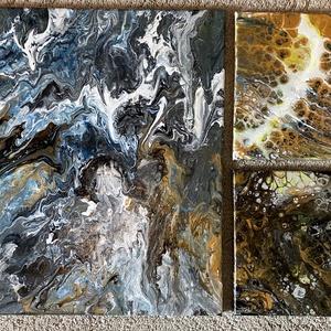Akril festmény, Otthon & lakás, Képzőművészet, Festmény, Akril, Napi festmény, kép, Festészet, Fluid painting technika\nA 3 kép együttes mérete 50x58, Meska