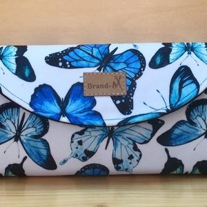 """Kék pillangós vízálló """"KRISZTI"""" kártyatartós női pénztárca, Táska, Divat & Szépség, Táska, Pénztárca, tok, tárca, Pénztárca, Varrás, Pillangó rajongóknak!\nFehér alapon kék pillangós vízálló designer szövetből készült női pénztárca. F..., Meska"""