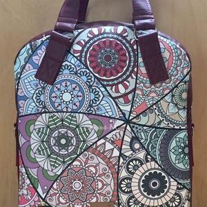 Mandalás textilbőr 4 az 1-ben női táska/hátizsák, Táska, Divat & Szépség, Táska, Hátizsák, Válltáska, oldaltáska, Varrás, Mandalamintás designer textilbőr és bordó textilbőrből készült többfunkciós női táska. Hordható kézb..., Meska