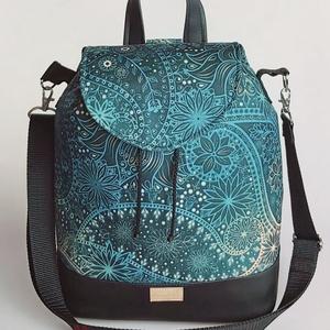 Orientális vízálló 3 az 1-ben női táska/hátizsák zárófedéllel , Táska, Divat & Szépség, Táska, Válltáska, oldaltáska, Hátizsák, Varrás, Különleges orientális mintájú vízálló designer szövetből és fekete textilbőrből készült 3 az 1-ben n..., Meska