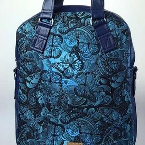 Kék pillangós vízálló cipzáras 4 az 1-ben női táska/hátizsák, Táska, Divat & Szépség, Táska, Hátizsák, Válltáska, oldaltáska, Varrás, Igazi tavaszi kék pillangós vízálló designer szövet és kék textilbőrből készült többfunkciós női tás..., Meska