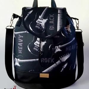 """Rock vízálló  """"ANDI"""" 3 az 1-ben női táska/hátizsák zárófedéllel, Táska & Tok, Variálható táska, Varrás, Szereted a zenét? Esetleg gitározol? Akkor igazán Neked való ez a rock-os vízálló designer szövetbő..., Meska"""