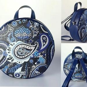 KÉSZLETEN! Paisley mintás kör hátizsák textilbőrből, Táska, Divat & Szépség, Táska, Hátizsák, Varrás, Igazán egyedit szeretnél? Akkor vállald be ezt a különleges paisley mintás textilbőr kör alakú hátiz..., Meska