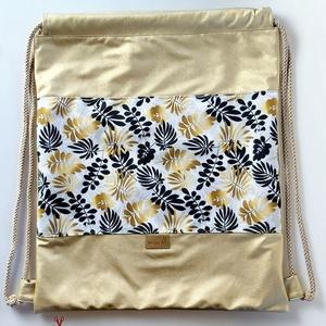 KÉSZLETEN Arany pálmaleveles textilbőr hátizsák, gym bag, tornazsák (BrandM) - Meska.hu