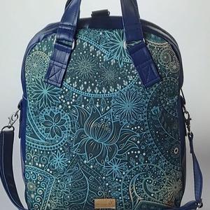 """Orientális vízálló """"RITA"""" 4 az 1-ben női táska/hátizsák, Táska, Divat & Szépség, Táska, Hátizsák, Válltáska, oldaltáska, Varrás, Különleges orientális vízálló designer szövet és kék textilbőrből készült többfunkciós női táska. Ho..., Meska"""