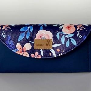 """Kék virágos textilbőr """"KRISZTI""""kártyatartós pénztárca, Táska, Divat & Szépség, Táska, Pénztárca, tok, tárca, Pénztárca, Varrás, Kek alapon rózsaszín virágos designer műbőrből készült női pénztárca.  12 kártya fér el benne, van k..., Meska"""