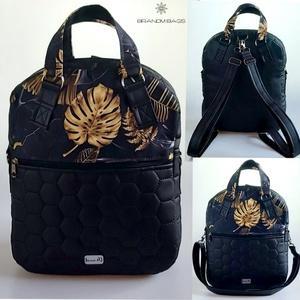 Különleges fekete alapon arany pálmaleveles  4 az 1-ben �RITA női táska/hátizsák, Táska & Tok, Variálható táska, Varrás, Meska