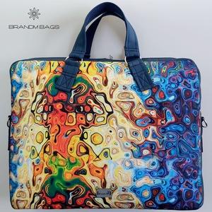 """Vibráló színes vízálló """"EDIT"""" női laptop táska, Táska & Tok, Laptop & Tablettartó, Laptoptáska, Varrás, Vibráló színes vízálló designer szövetből és sötétkék méhsejtmintásan steppelt textlibőrből készült ..., Meska"""