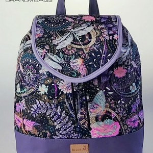 """Szitakötős vízálló """"JUDIT"""" női hátizsák, Hátizsák, Hátizsák, Táska & Tok, Varrás, Szitakötős vízálló designer szövetből és lila textilbőrből készült női hátizsák. Nem csak szép, de t..., Meska"""