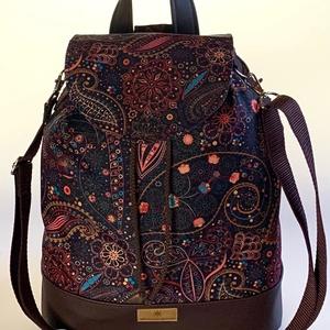 """Barna orientális vízálló """"ANDI"""" 3 az 1-ben női táska/hátizsák zárófedéllel , Táska & Tok, Variálható táska, Varrás, Különleges barna alapon orientális mintájú vízálló designer szövetből és fekete textilbőrből készült..., Meska"""