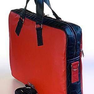 """Ferrari piros  """"EDIT"""" textilbőr laptop táska, Laptoptáska, Laptop & Tablettartó, Táska & Tok, Varrás, Ferrari piros és fekete méhsejtmintásan steppelt textilbőrből készült """"EDIT"""" laptop táska. Tetején c..., Meska"""