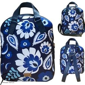 Kék virágos �RITA 4 az 1-ben női táska/hátizsák, Táska & Tok, Variálható táska, Varrás, Meska