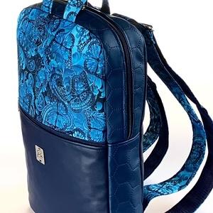 """Kék pillangós vízálló """"SZOFI"""" laptop hátizsák , Táska & Tok, Laptop & Tablettartó, Laptoptáska, Varrás, ÚJDONSÁG!\nKék pillangós vízálló designer szövetből és kék textilbőrből készült """"SZOFI"""" laptop hátizs..., Meska"""