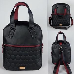 Különleges fekete textilbőr �RITA  4 az 1-ben női táska/hátizsák, Táska & Tok, Variálható táska, Varrás, Meska