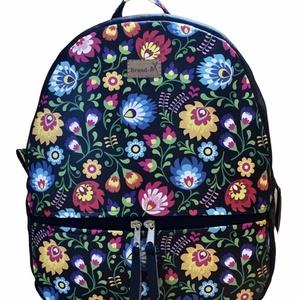"""Virágos cipzáras """"AMANDA""""hátizsák, Táska & Tok, Hátizsák, Hátizsák, Varrás, Fekete alapon színes virágos vízálló designer szövetből és fekete textilbőrből készült """"AMANDA"""" \n há..., Meska"""