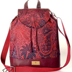 """Burgundi vörös vízálló """"ANDI"""" 3 az 1-ben női táska/hátizsák zárófedéllel  (BrandM) - Meska.hu"""