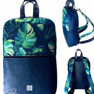 """Dzsungeles  vízálló """"SZOFI"""" laptop hátizsák , Táska & Tok, Laptop & Tablettartó, Laptoptáska, Varrás, ÚJDONSÁG!\nDzsungeles vízálló designer szövetből és kék méhsejtmintásan steppelt textilbőrből készült..., Meska"""
