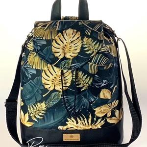 �ANDI 3 az 1-ben fekete alapon arany pálmaleveles vízálló női táska/hátizsák zárófedéllel, Táska & Tok, Variálható táska, Varrás, Meska