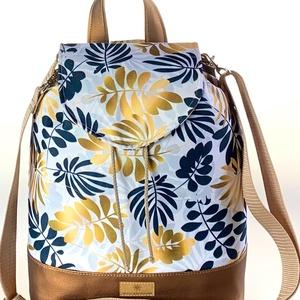 �ANDI 3 az 1-ben fehér alapon arany pálmaleveles vízálló női táska/hátizsák zárófedéllel, Táska & Tok, Variálható táska, Varrás, Meska