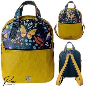 Mustársárga pillangós textilbőr �RITA 4 az 1-ben cipzáras női táska/hátizsák, Táska & Tok, Variálható táska, Varrás, Meska