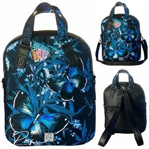 """Nagy kék pillangós vízálló """"RITA"""" 4 az 1-ben női táska/hátizsák, Táska & Tok, Variálható táska, Varrás, Nagy kék pillangós vízálló designer szövet és fekete textilbőrből készült többfunkciós női táska. Ho..., Meska"""