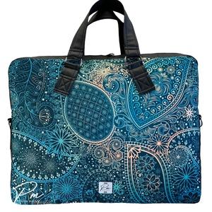 """Orientális vízálló """"EDIT"""" női laptop táska, Táska & Tok, Laptop & Tablettartó, Laptoptáska, Varrás, Orientális vízálló designer szövetből és fekete méhsejtmintásan steppelt textlibőrből készült női la..., Meska"""