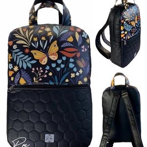 """Sárga pillangós textilbőr """"SZOFI"""" laptop hátizsák , Táska & Tok, Laptop & Tablettartó, Laptoptáska, Varrás, Sárga pillangós textilbőr designer szövetből és fekete méhsejtmintásan steppelt textilbőrből készült..., Meska"""
