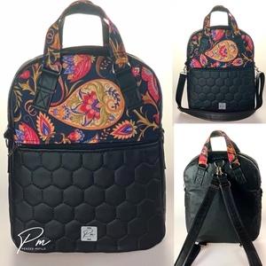 Színes paisley mintás textilbőr �RITA 4 az 1-ben cipzáras női táska/hátizsák, Táska & Tok, Variálható táska, Varrás, Meska