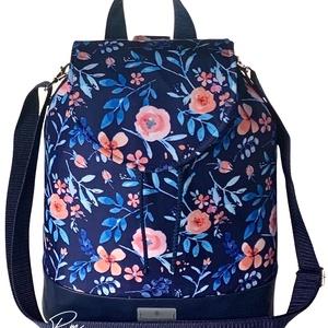 Kék virágos vízálló �ANDI 3 az 1-ben női táska/hátizsák zárófedéllel , Táska & Tok, Variálható táska, Varrás, Meska