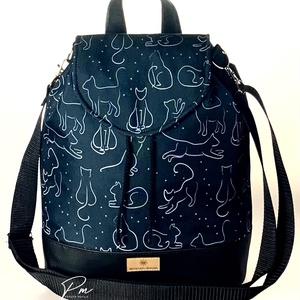 """Fekete macskás vízálló """"ANDI"""" 3 az 1-ben női táska/hátizsák zárófedéllel , Táska & Tok, Variálható táska, Varrás, Fekete macskás vízálló designer szövetből és fekete textilbőrből készült 3 az 1-ben női táska zárófe..., Meska"""