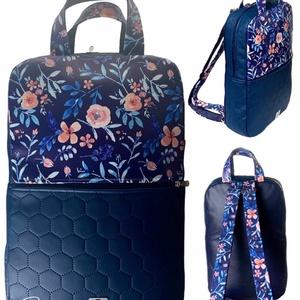 Kék virágos textilbőr �SZOFI laptop hátizsák , Táska & Tok, Laptop & Tablettartó, Laptoptáska, Varrás, Meska