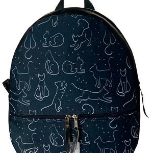 """Fekete macskás vízálló cipzáras """"AMANDA"""" hátizsák, Táska & Tok, Hátizsák, Hátizsák, Varrás, Fekete macskás vízálló designer szövetből készült """"AMANDA"""" hátizsák fekete textilbőrrel kombinálva. ..., Meska"""