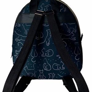 Fekete macskás vízálló cipzáras �AMANDA hátizsák - táska & tok - hátizsák - hátizsák - Meska.hu