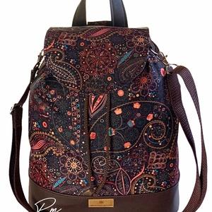 """Barna orientális vízálló """"ANDI"""" 3 az 1-ben női táska/hátizsák zárófedéllel , Táska & Tok, Variálható táska, Varrás, Különleges barna alapon orientális mintájú vízálló designer szövetből és barna textilbőrből készült ..., Meska"""
