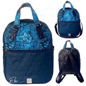 """Kék pillangós  """"RITA"""" 4 az 1-ben női táska/hátizsák, Táska & Tok, Variálható táska, Varrás, Igazi tavaszi kék pillangós vízálló designer szövet és kék méhsejtmintásan szeppelt textilbőrből kés..., Meska"""