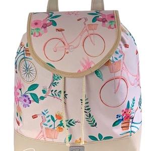 """Biciklis """"JUDIT"""" vízálló női hátizsák, Táska & Tok, Hátizsák, Hátizsák, Varrás, Biciklis vízálló designer szövetből és bézs textilbőrből készült hátizsák. Nem csak szép, de teherbí..., Meska"""