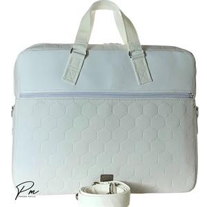 """Elegáns hófehér """"EDIT"""" laptop táska , Táska & Tok, Laptop & Tablettartó, Laptoptáska, Varrás, Elegáns fehér textilbőrből és fehér méhsejtmintásan steppelt textlibőrből készült női laptop táska. ..., Meska"""