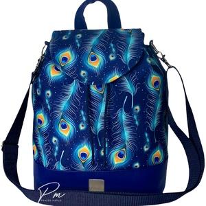 Kék pávatollas vízálló �ANDI többfunkciós női táska/hátizsák zárófedéllel, Táska & Tok, Variálható táska, Varrás, Meska