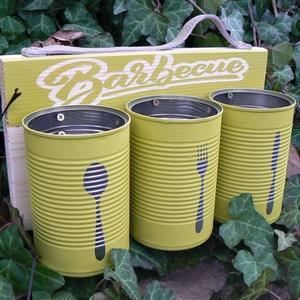 Evőeszköz szervírozó zöld, Otthon & Lakás, Konyhafelszerelés, Kanál & Villa, Festett tárgyak, Újrahasznosított alapanyagból készült termékek, Egy praktikus hordozható evőeszköztartó , grillezéshez, kerti partykhoz vagy csak legyen a konyhád e..., Meska