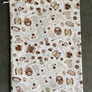 Barna kávés kenyeres zsák, Táska & Tok, Bevásárlás & Shopper táska, Kenyeres zsák, Varrás, A tasak egyik oldala pamutvászonból, míg a belső oldala pul anyagból készült, így frissen tartja, am..., Meska