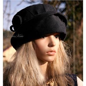GINA- kordbársony-kalap / sötétkék (brokat) - Meska.hu