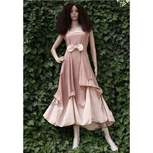 OPHÉLIA - artsy design-ruha, Alkalmi ruha & Estélyi ruha, Női ruha, Ruha & Divat, Festett tárgyak, Varrás, Bolyhozott, nehéz nyersvászonból készítem ezt a látványosan-egyszerű princessz-fazonú modellem, majd..., Meska
