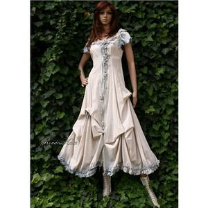 BELLA - romantikus design ruha , Ruha & Divat, Ruha, Női ruha, Varázslatos vintage hatás: Rusztikus lenvászonból készült ez a romantikus modellem. Az elől futó fém..., Meska