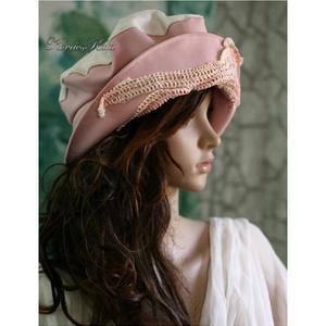 ANDERSEN - romantikus design kalap , Ruha & Divat, Sál, Sapka, Kendő, Kalap, Varrás, Festett tárgyak, Romantikus mesék ihlette, rózsaszínű szövet és  lenvászon kombinációjából készült, felhajtós-karimáj..., Meska