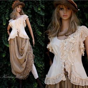 """LENKE - iparművész ruha - \""""vintage lady\"""", Táska, Divat & Szépség, Női ruha, Ruha, divat, Ruha, Szoknya, Blúz, Varrás, Festett tárgyak, Kézzel festett nyers pamutvászonból készítem ezt a látványos kétrészesemet.\n\nA nagyvonalú, sokfodros..., Meska"""