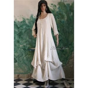 BEATRICE - romantikus design-ruha, Ruha, Női ruha, Ruha & Divat, Varrás, Kedvelt modellem rusztikus, nyers pamutvászonból készítem, kézzel festem pasztell és telt színekre. ..., Meska
