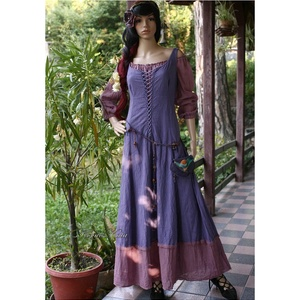 GISELLE - romantikus design-öltözet XL, Ruha, Női ruha, Ruha & Divat, Festett tárgyak, Varrás, Mell alatt vágott, részekből szabott, elöl-fűzős, ujjatlan hosszú-ruha indigó-lila-mályva kézzel fes..., Meska