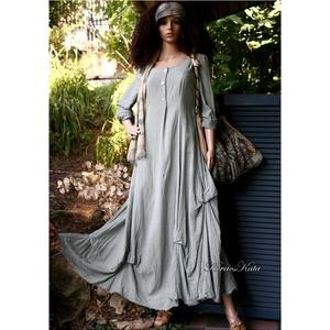 BEATRICE - romantikus design-ruha , Ruha & Divat, Női ruha, Ruha, Varrás, Festett tárgyak, Romantikus,feltűrős-ujjú hosszú-ruha felcsípésekkel habosítva.\nElején ál-gombolópánttal formáztam.\nR..., Meska